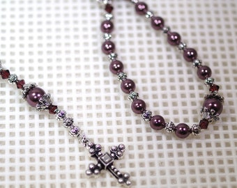 Swarovski Pearl & Crystal Rosary - Anglican or Catholic - Made to Order - Shown with Burgundy Pearls