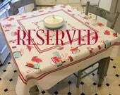 RESERVED Vintage Tablecloth Plug Into 50s Appliances