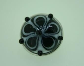 Handmade Lampwork Interchangabe Popper / Chunk Black on White  SRA FHF