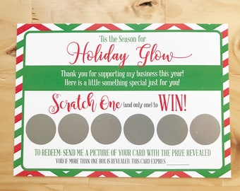 R+F Holiday Scratch Off Cards (Printed Version) | Thank You Cards | Printed Cards with Envelope Option | Christmas Scratch Off Card