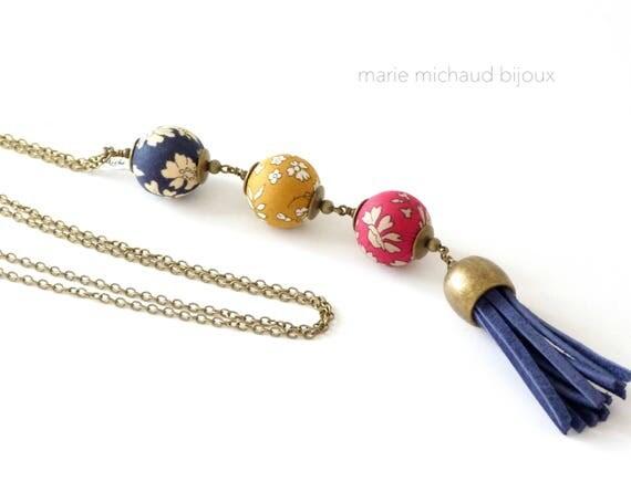 Liberty necklace,Tassel necklace,Long boho necklace,Liberty jewelry,Leather tassel,Long tassel necklace,Original textile necklace