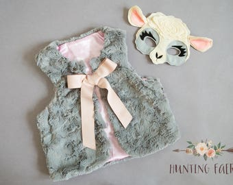 Faux Fur Vest  in Grey with Satin Lining Dress Up The Perfect Accessory
