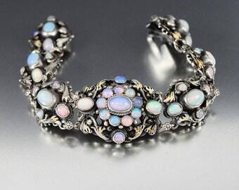 Opal Bracelet, Austro Hungarian Bracelet, Enamel Flower, Silver Victorian Bracelet, 1800s  Antique Jewelry, Belle Epoque, Bohemian Jewelry