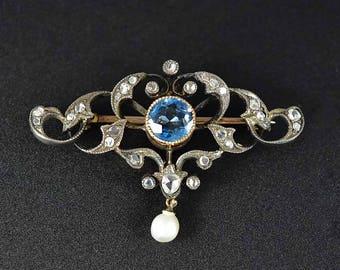 Edwardian Aquamarine Diamond Brooch, 12K Gold Pearl Brooch, Silver Heart Antique Brooch, Blue Aquamarine Love Token Rose Cut Diamond Pin