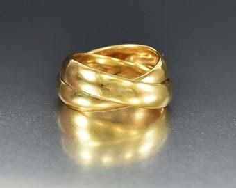 Vintage Trinity 14K Gold Ring | Wedding Band Rolling Ring | Yellow Gold Wedding Ring | Wide Band Ring | Double Band Ring | Vintage Rings