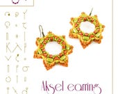 Beading tutorial / pattern Aksel earrings with tile beads. Beading instruction in PDF – for personal use only