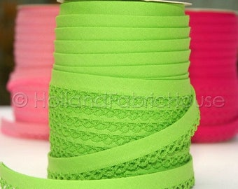 FINAL CLEARANCE SALE Double fold picot crochet edge bias tape, crochet bias tape, lace bias tape, apple green bias tape, apple green solid b