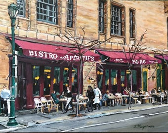 Original Philadelphia Painting Parc Bistro Restaurant, Rittenhouse Square, Philly painting, Cafe Art, Philly Parisian Cafe by Gwen Meyerson