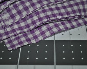 30 pack of 5 Inch Purple Gingham Squares Poly Cotton Blend Quilting Scraps
