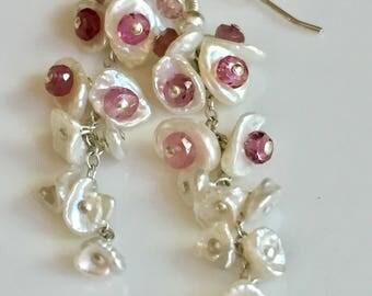 Genuine Pink Tourmaline White Keshi Pearl Earrings, Waterfall Cluster Gemstone, October Birthstone, Sterling Silver Jewelry