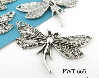Large 49mm 2 Hole Dragonfly Charm, Pewter. Pewter Pendant,  Antiqued Silver (PWT 665) 4 pcs BlueEchoBeads