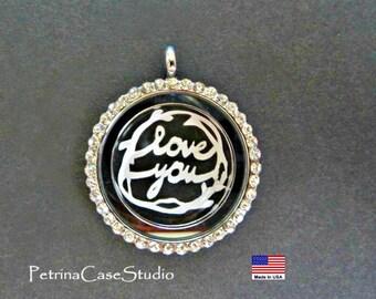 Papercut Cut Love You -Handcut- Necklace -in Glass Pendant -Scherenschnitte  Design 1302 Keepsake