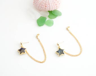 Simple Labradorite Star Earrings, Handmade, Chains, Dangle, 14k Gold Filled, Simply Me Jewelry Shooting Star Earrings, SMJER800