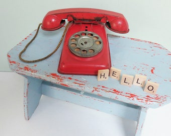"""Vintage Toy Play Telephone with Rotary Dial, Red Metal, Cord Intact, """"Hello"""" Scrabble Letters"""