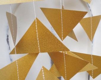 Gold Triangle Wedding Garland - Party Decoration - Wedding Decoration - Geometric- Christmas - Wedding Decor - Baby Shower - Paper Garland