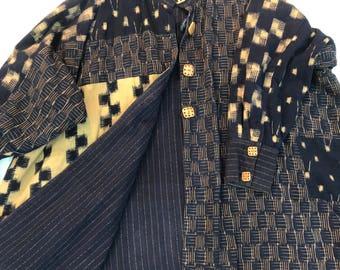 Japanese swing open handmade textile Indigo blue reversible kimono coat jacket bone OS