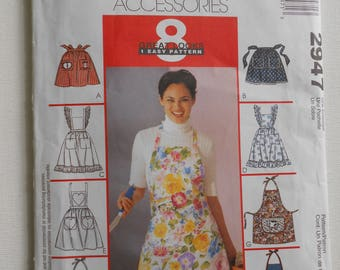 Misses Men's Full Bib or Half Aprons 8 Great Looks 1 Easy Pattern Heart Cow Apple Applique McCalls 2947 One Size UNCUT
