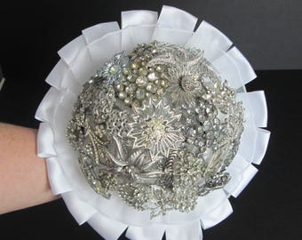 Vintage Brooch Bouquet - Handmade - Something Blue
