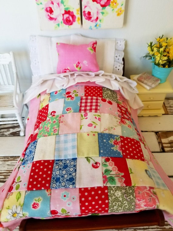 """Miniature Dollhouse Patchwork Quilt only-1:12 scale 7"""" x 7"""""""