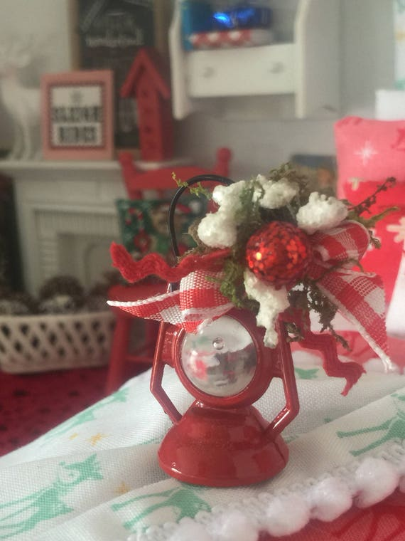 Winter Decorated Red Lantern- 1:12 dollhouse miniature scale