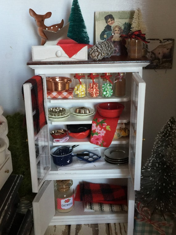 Miniature Dollhouse New Christmas Filled China Hutch 1:12 Scale