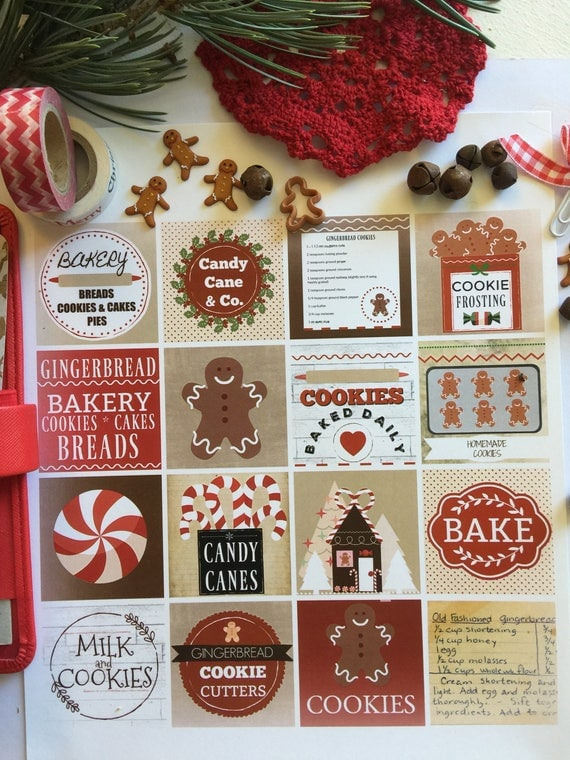 Gingerbread Bakery Planner Clipart Squares Printables -Download, Print and Cut