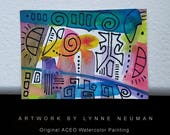 ACEO Original Hand-Painted One-of-a-Kind Abstract Mini Watercolor Signed Painting by Lynne Neuman #4364 OOAK Miniature Small Format Art ATC