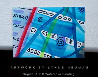 ACEO Original Hand-Painted One-of-a-Kind Abstract Mini Watercolor Painting by Lynne Neuman #4354 OOAK Miniature Small Format Art ATC