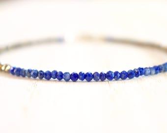 pyrite & lapis lazuli beaded bracelet.  lapis lazuli with pyrite thin bracelet.  tiny lapis and pyrite. cobalt blue and bronze bracelet