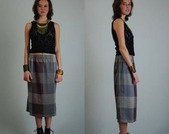 SALE 25% off sundays Plaid Skirt Vintage 70s Smart Plaid Slouchy Elastic Waist Pencil Skirt (m l)