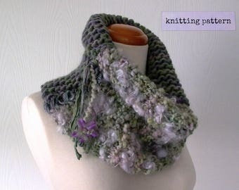 knitting pattern pdf . art yarn cowl pattern . bohemian cowl knitting pattern . chunky knit cowl pattern . instant download knit pattern