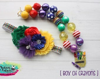 Back to School Baby Girl Necklace or headband { Box of Crayons}  kindergarten, first day of school, teachers pet cake smash photography prop