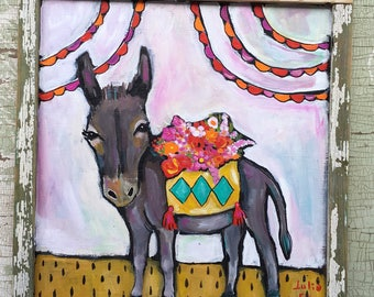 Folk Art Donkey Painting in a Handmade Frame