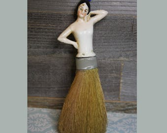 Porcelain HALF DOLL- Whisk Broom Antique Doll- Made in Germany- Doll Brush Flapper Straw Brush Doll
