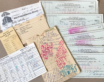 Vintage Paper Ephemera- Cancelled Checks Writing- Sepia Toned Pages- 1940's & 50's Mixed Media Supply- Paper Ephemera