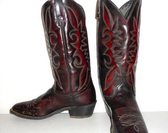 Mens 9.5 D Cowboy Boots Oxblood Acme Distressed Country Western Vintage