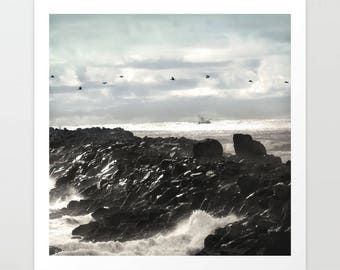 Oregon Coast Pelicans Art Print, beach landscape, Fort Stevens, South Jetty, fishing, nautical photography, coastal decor