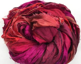Sari Silk Ribbon, Reclaimed, Recycled, Fair Trade, Skein no. 326, 50 yds.