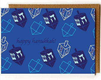 Chanukkah Card, Modern Hanukkah Card, Hanukkah Card, Judaica, Minimalist, Jewish Friend, Jewish Mom, Dreidel Card, Winter Holiday Card, Navy