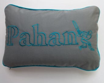 Gray and blue  name pillows Custom Made cushion covers.  name pillow. Sport lover  pillow. boys  room  pillow. 12 X 20  inch custom  made