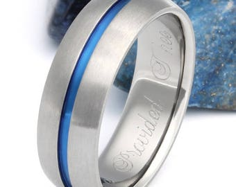 Thin Blue Line Titanium Wedding Band, His and Hers Ring, Handcrafted Titanium Band - b22