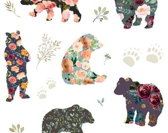Bears Fabric - Patchwork Bears Floral By Shopcabin - Bear Floral Baby Animal Nursery Rustic Boho Cotton Fabric By The Yard With Spoonflower