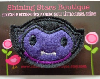 Hair Accessory - Felt Hair Clip - Black And Purple Embroidered Felt Halloween Dracula Hair Clippie For Girls - Holiday Accessories For Kids