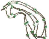 Art Deco Green Art Glass Beads Necklace Vintage Flapper Length