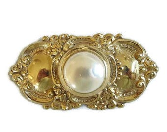 Victorian Revival Repousse' Brooch with Large Faux Pearl Vintage