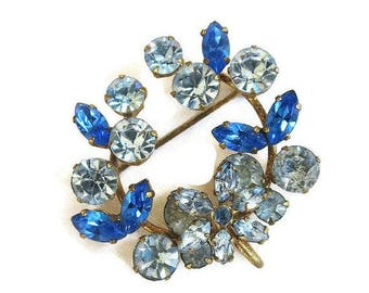 SALE Austria Rhinestone Circle Brooch or Pendant Layered Dark & Light Blue Floral Vintage