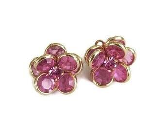 SALE Swarovski Crystals Pink Flower Earrings Vintage with Rhinestone