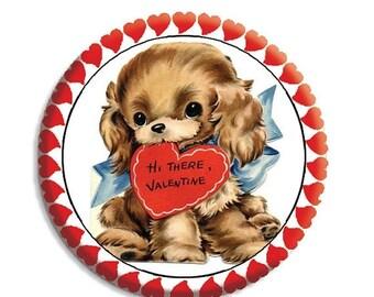"20% OFF - Valentine Puppy Love Pocket Mirror, Magnet or Pinback Button - Favors - 2.25""-  MR489"