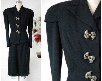 Vintage 1930s Suit - Amazing Deep Navy Blue Wool Crepe Late 30s Suit with Sharp Collar, Massive Caped Shoulders  and Huge Metal Bow Buttons