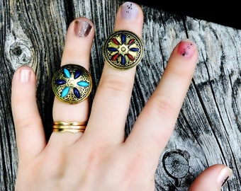Ottoman Empire Inlaid Brass Shield Rings Turquoise Lapis Lazuli  Colors Adjustable Vintage Hand Crafted Jewelry Knights Templar The Crusades